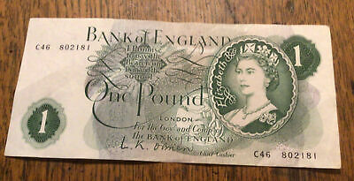 Old Bank Of England £1 One Pound Note L K Obrien.(used) • 2£