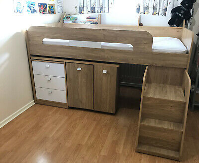 Bunk Bed With Beech Wood Effect Frame; Includes Medium Firm Feel Mattress • 440£