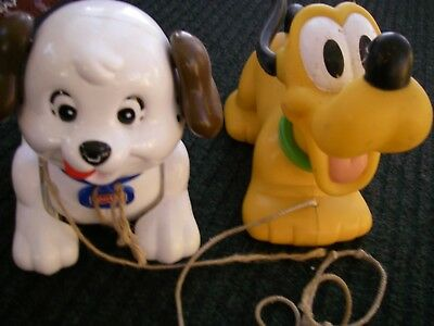 2 Pull Along Vintage Toy Dogs Pluto & Fisher Price Lil Snoopy • 8.95£