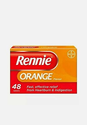 96 Rennie Orange Flavour Chewable Tablets - 48 X 2  = 96 New UK Free P&P  • 10.99£