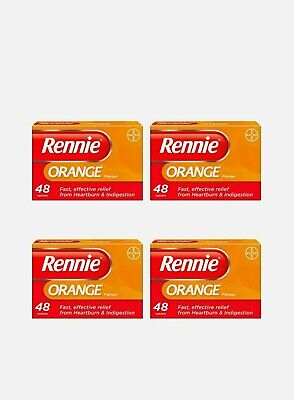4 X Rennie Orange Flavour Chewable Tablets 48 Total 192 Tablets  • 19.99£