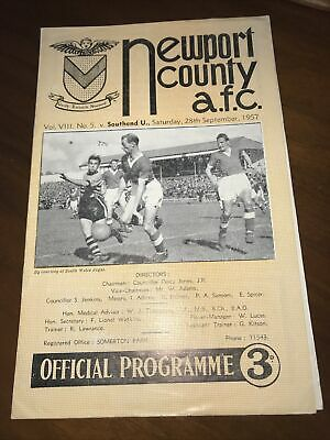 Newport County V Southend United 1957 1958 Football Programme • 2£