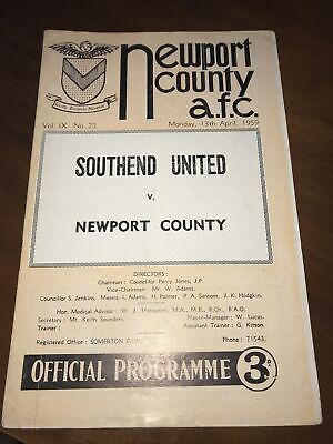 Newport County V Southend United 1958 1959 Football Programme • 2£