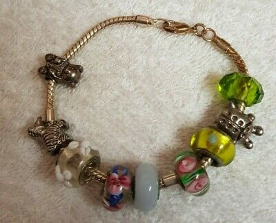Glass Bead And Animal Charm Bracelet - Great Gift - Rarely Worn • 2£