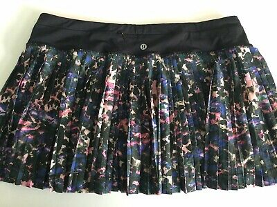 $ CDN48 • Buy Lululemon Pleat To Street Skirt II Floral Backdrop Black Multi Size 10 EUC