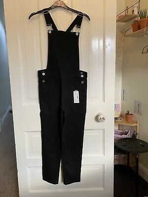 Girls Age 12-13 Black Stretchy Denim Dungarees From Peacocks • 18£