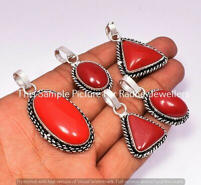$ CDN11.43 • Buy Coral 5 Pcs Wholesale Lots 925 Sterling Silver Plated Pendant LP-24-319