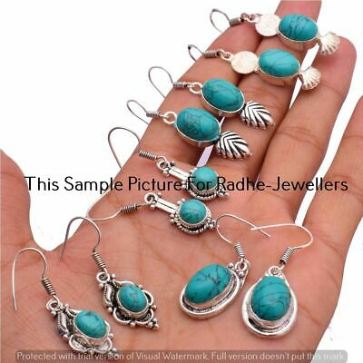 $ CDN12.70 • Buy Turquoise 5 Pair Wholesale Lots 925 Sterling Silver Plated Earrings Lot-24-250