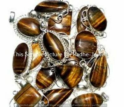 $ CDN11.43 • Buy Tiger Eye 5 Pcs Wholesale Lots 925 Sterling Silver Plated Pendant LP-24-328