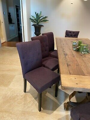 AU490 • Buy Set Of 8 Hamptons Style Charcoal Linen Fabric Dining Chairs