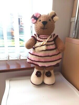 Hand Knitted Tan Teddy Bear Pink,cream & Burgundy Outfit  • 8.50£