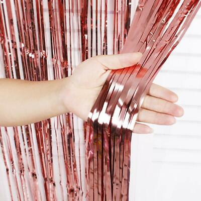 £3.19 • Buy New 2M Shimmer Foil Rose Gold Glitter Tinsel Metallic Curtain Backdrop Party
