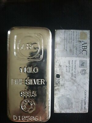 AU3950 • Buy 3 X 1kg ABC Silver Cast Bar With Certificates