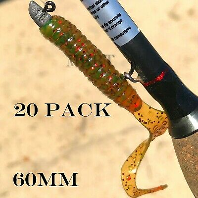 AU8.50 • Buy 20 Soft Plastic Fishing Lure Tackle Grub Worm Curly TAIL FLATHEAD Bream Lures