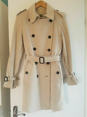 100% Authentic Women Burberry Stone Cream Wool Double Breasted Trench Coat UK 10 • 485£
