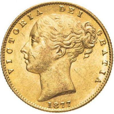 1877 S Queen Victoria Young Head Shield Gold Sovereign NGC MS 61 • 675£