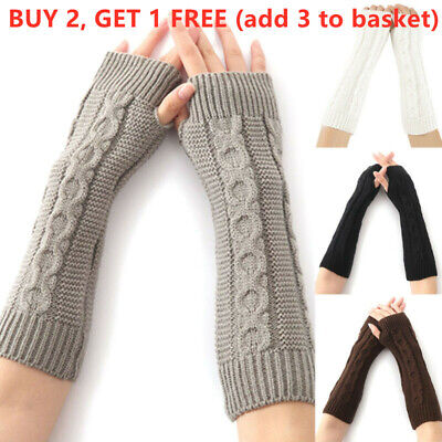 AU11.39 • Buy Womens Knitted Fingerless Gloves Wrist Arm Hand Long Sleevelet Warmer Mittens AU
