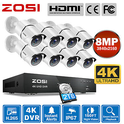 AU389.49 • Buy ZOSI 4K/5MP 8CH NVR POE Outdoor Security Camera System IP Network IR-Cut 0-2TB