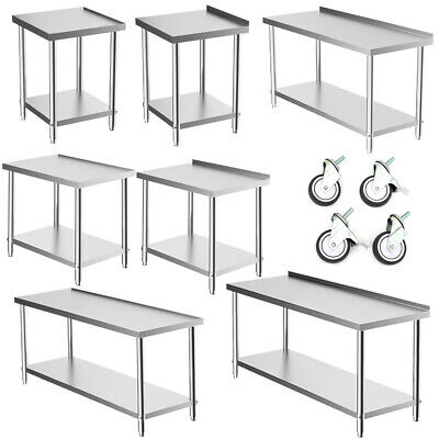 Stainless Steel Commercial Catering Table Work Bench Kitchen Top Food Prep Shelf • 79.14£