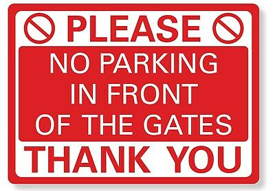 £4.99 • Buy METAL SIGN No Parking In Front Of The Gates Metal Waterproof Red White