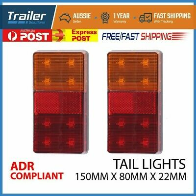 AU21.27 • Buy 12v Waterproof Trailer Pair Of Rear Tail Light Lights Kit Submersible 8 Led Boat