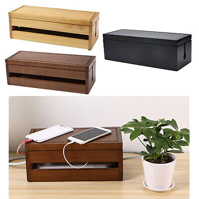 £32.76 • Buy Wooden Cable Tidy Box Large Cable Management Box Organizer, Cord Storage Holder