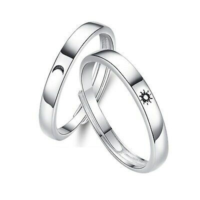 AU26.95 • Buy Sterling Silver Adjustable Sun And Moon Promise Ring Couple Rings Valentine Gift