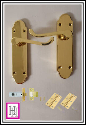 £10.75 • Buy Brass Victorian Scroll Shaped Back Plate Door Handles Epsom Latch & Hinges D1