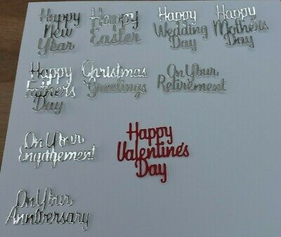 £1 • Buy 10 DieCut Sentiments Happy Mother, Father Wedding,Day Anniversary Engagement Etc