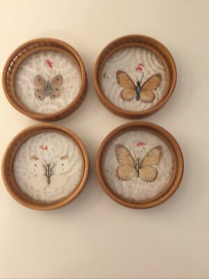 £17 • Buy Retro Set Of 4 Butterfly Bamboo Coasters