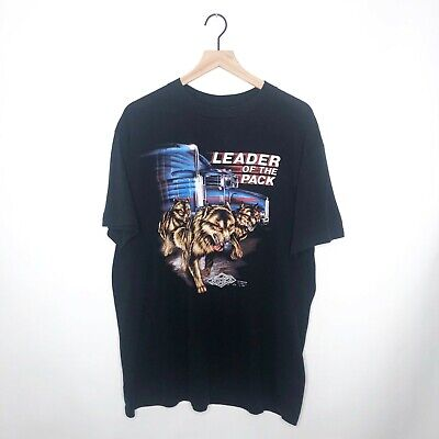 $ CDN189.33 • Buy Vintage 3D Emblem Leader Of The Pack T-Shirt Size XL Truckers Only 1991 Wolves