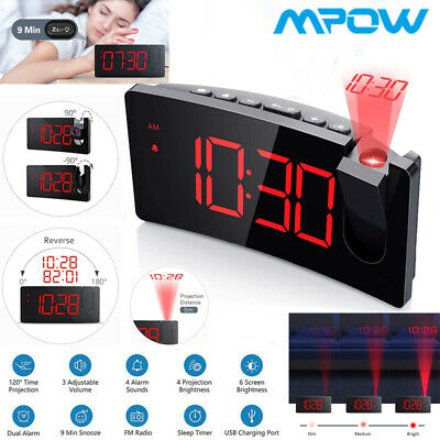 AU42.99 • Buy Mpow Projection Projector Red LED Digital Clock FM Radio Alarm Snooze Dimmable