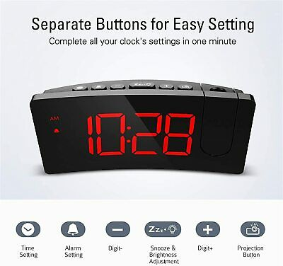 AU32.83 • Buy Mpow Projection Projector Red LED Digital Display Clock Alarm Snooze Dimmable