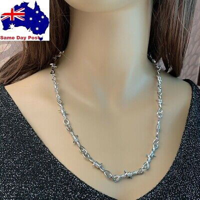 AU7 • Buy Barbed Wire Necklace Men Women Hip-Hop Punk Style Chain Choker Jewelry