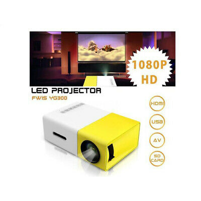 Mini Portable LED Projector 1080P HD Home Cinema Theater System PC Laptop IPhone • 52.39£