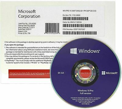 $ CDN385.68 • Buy Pack Of X 10 Microsoft Windows 10 Pro 64 Bit Sealed DVD And License English