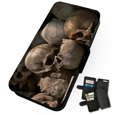 £9.75 • Buy Printed Faux Leather Flip Phone Case For IPhone - Realistic Skull Pile