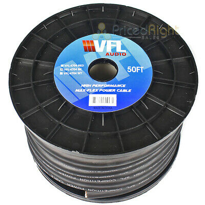 $139.95 • Buy 50 Ft OFC 1/0 Gauge Power Wire Flexible Copper Cable Black Competition VFL Audio