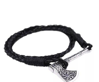 £6.49 • Buy Viking Thor Axe Odin Nors Mammon Necklace Bracelet Braided Leather