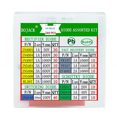 $ CDN16.36 • Buy BOJACK 14 Value 240 Pcs Diode Assortment Kit Contain Rectifier/Fast Diode 1N4001