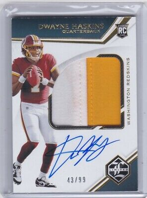 $ CDN57.03 • Buy 2019 Panini Limited Dwayne Haskins RC Jersey Patch Auto 43/99 #143
