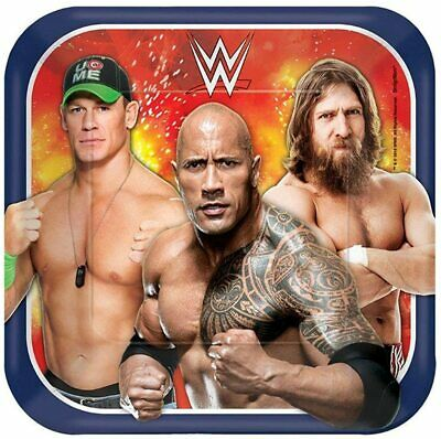Grand Slammin' WWE Birthday Party Square Dessert Paper Plates Disposable Tablew • 25.73£