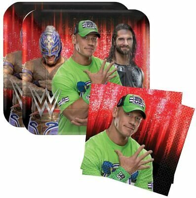 Grand Slammin' WWE Birthday Party Bundle 9' Plates (16) Lunch Napkins (16) • 25.68£