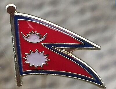 NEPAL...........Country Metal /enamel Lapel Pin Flag. Brand New.  • 1.79£