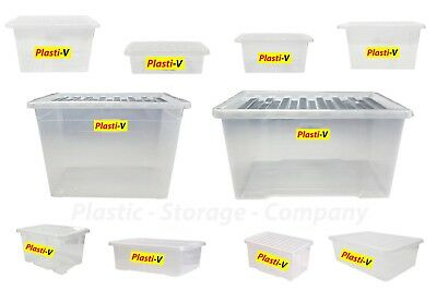 £11.99 • Buy Quality Plastic Storage Boxes - Strong Clear Box With Black Lid Home Made In Uk
