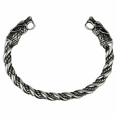 Men's Stainless Steel Viking Wolf Fenrir Norse Cuff Bracelet Bangle • 9.99£