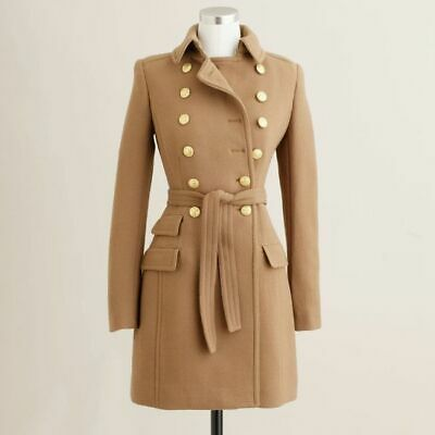 AU349 • Buy J. Crew Camel Double Cloth Wool Townhouse Belted Trench Coat Jacket $600+