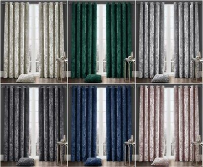 Crushed Velvet Luxury Designer Curtains Eyelet Ring Top Fully Lined Curtain Pair • 43.99£