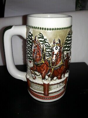 $ CDN39.02 • Buy 1984  Anheuser Busch  AB  Budweiser Bud Holiday Christmas Beer Stein Clydesdales