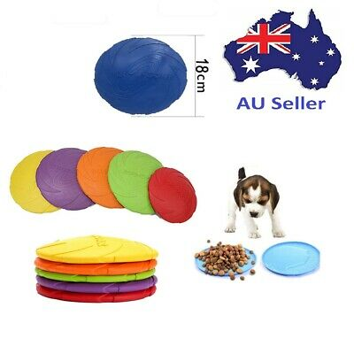 AU7.95 • Buy Silicone Rubber Frisbee Pet Dog Puppy Safe Exercise Fetch Outdoor Training Toy